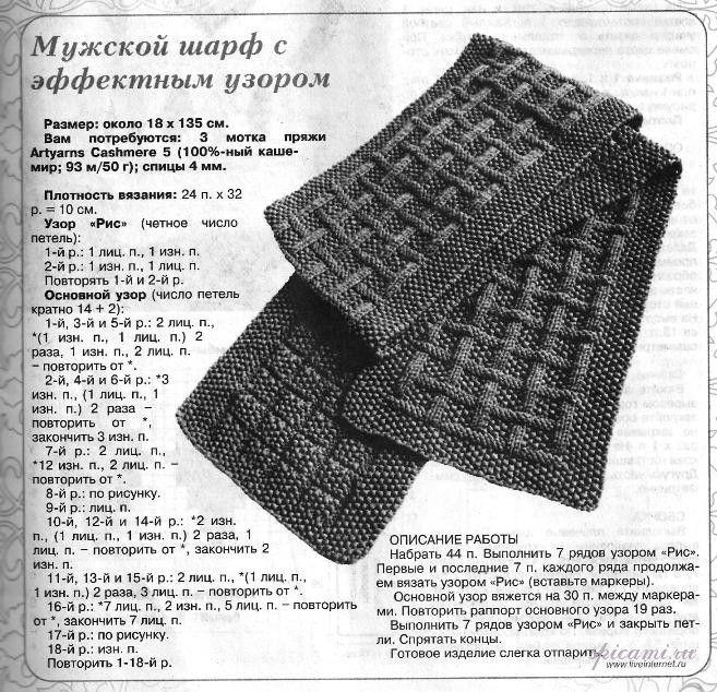 мужской шарф с эффектным узором вязание спицами крючком уроки