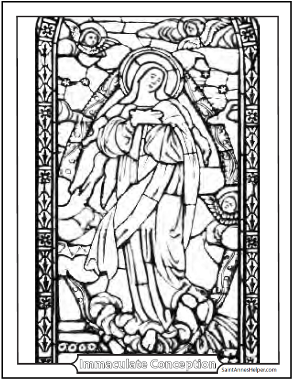 stained glass coloring page of the immaculate conception beautiful picture of mary and angels in