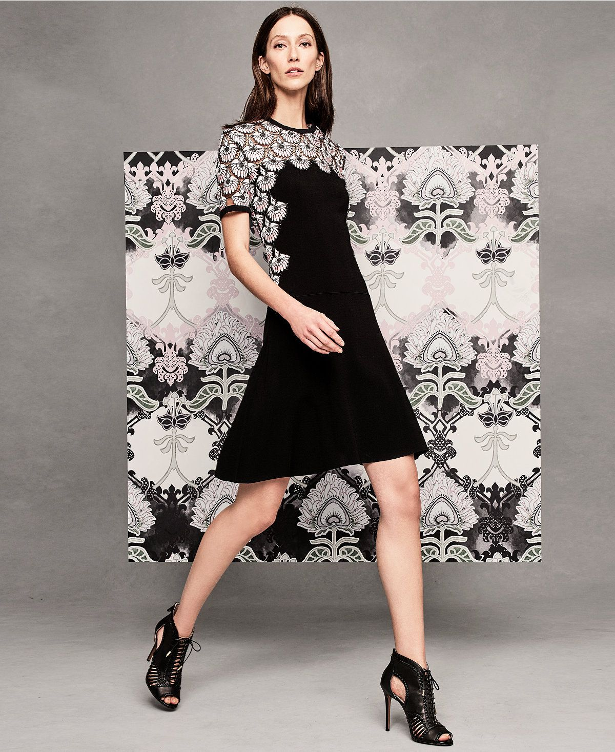 Lace dress macys  YYIGAL LaceContrast Fit u Flare Dress a Macyus Exclusive Style