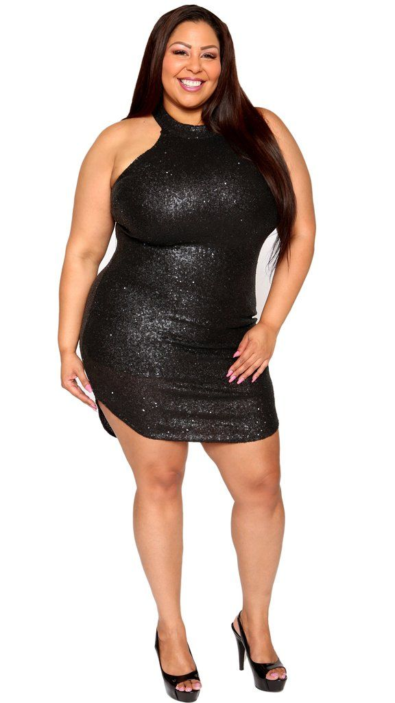 0fb143f27c53f Hot Girl Sequins Dress (Black)   Things to Wear   Black sequin dress ...