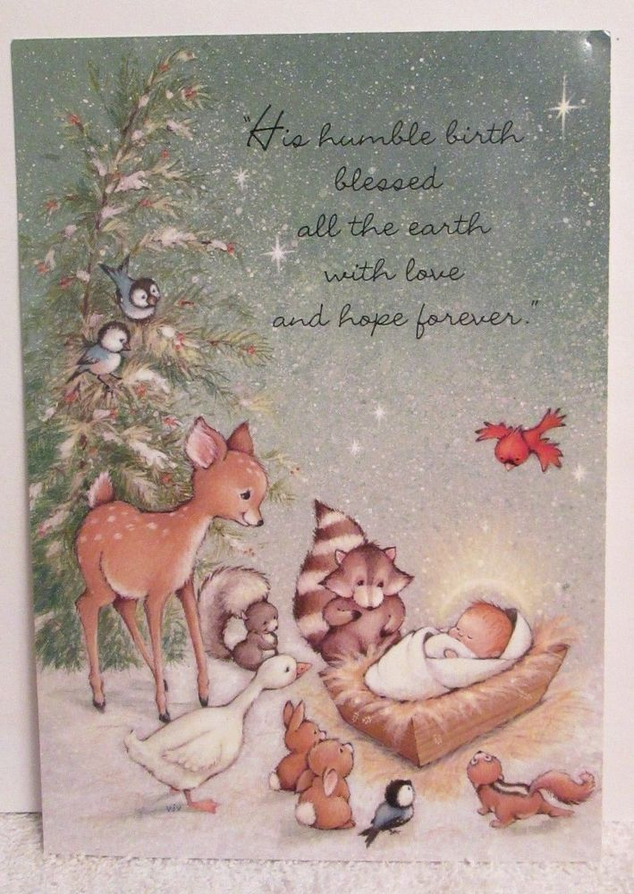 3 Hallmark Christmas Cards Woodland Critters Forest Animals Baby ...