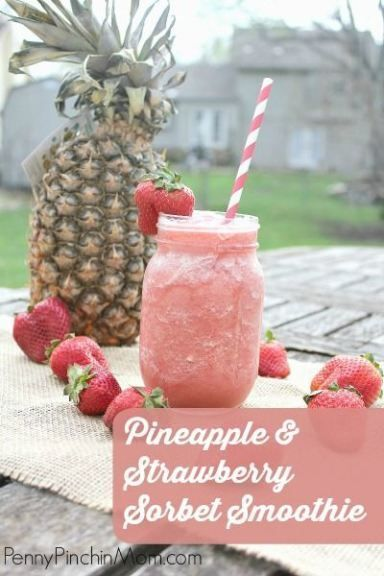 Strawberries and pineapple - yum! Put them together to make this incredibly refreshing Sorbet Smoothie!!!