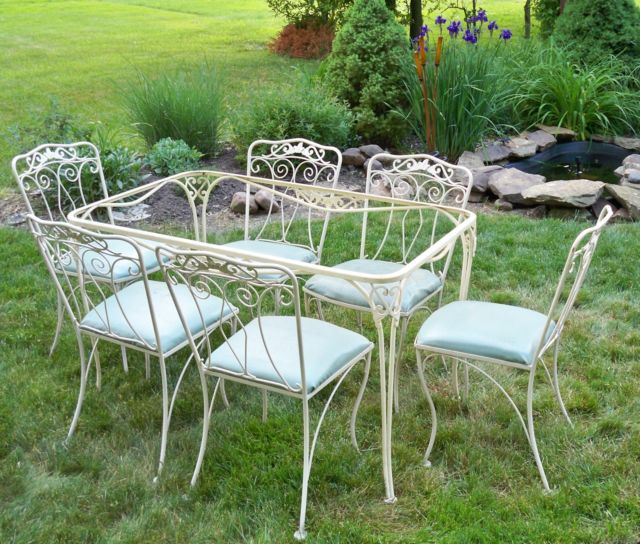 vintage iron patio table cottage garden chairs furniture sets outdoor set style metal