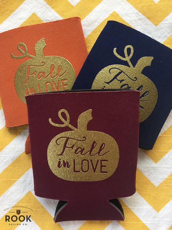 Fall in Love wedding coolers, Fall wedding theme beer holders, Fall wedding, pumpkin fall in love can coolie, wedding beer holder (150 qty)