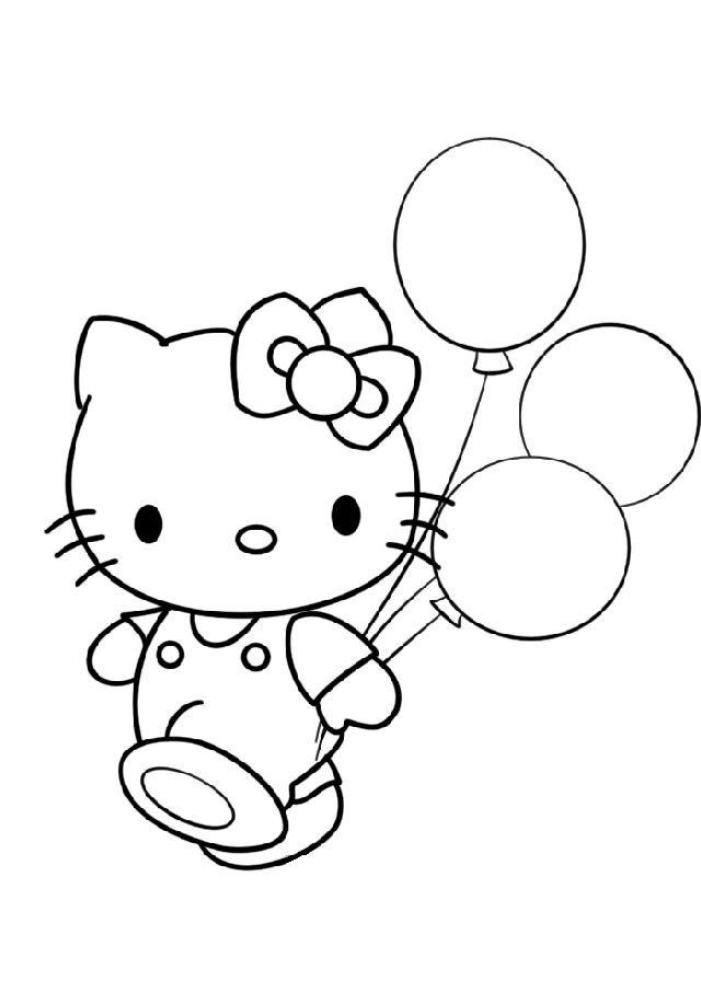 Happy Birthday Hello Kitty Coloring Pages Display