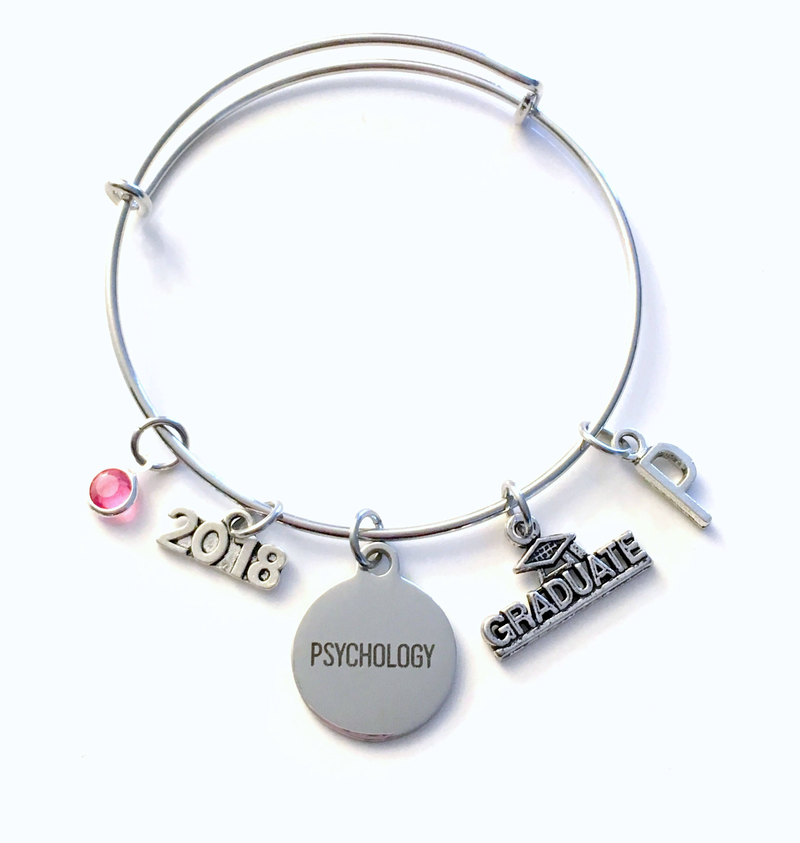 Gift For Psychology Graduation Bracelet 2017 2018 Student Grad Silver Bangle University Jewelry College Charm Psychologist Her Woman Women By