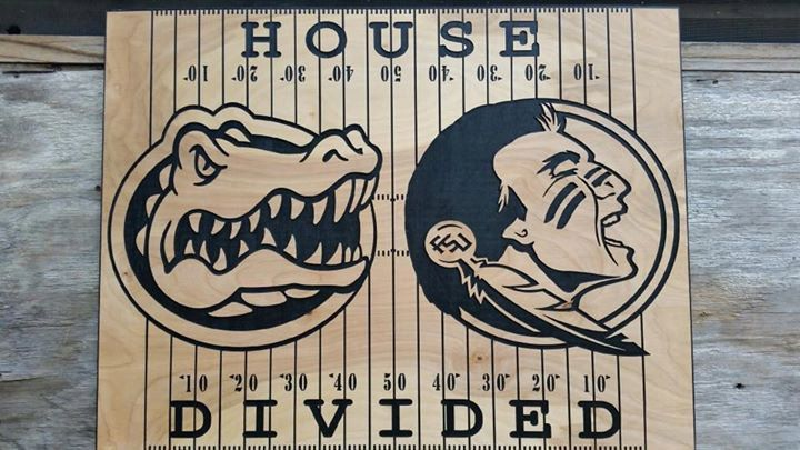 Man Cave Football Signs : Personalized house divided football sign wooden man cave decor