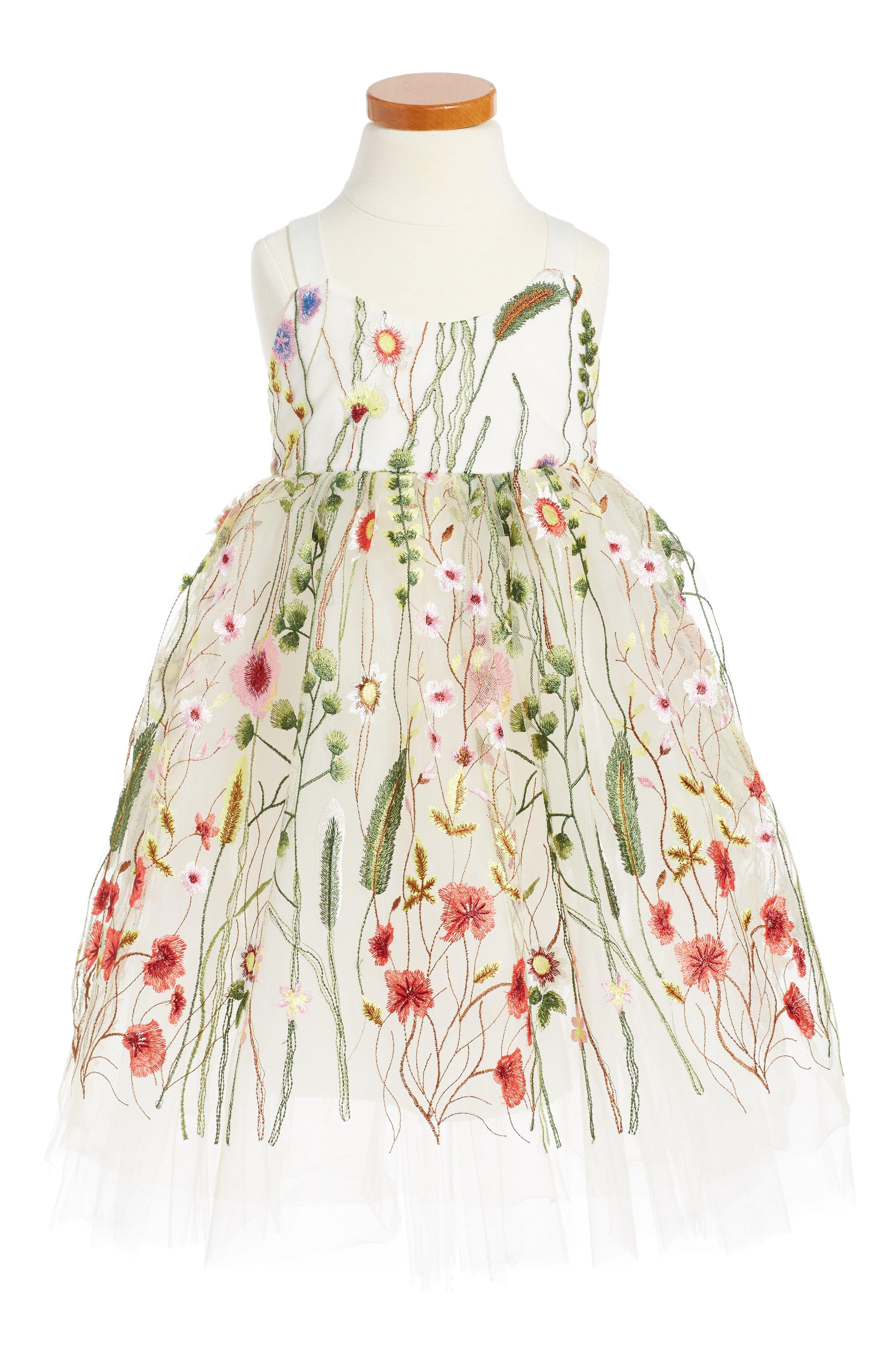 Little girl dresses for weddings  Main Image  Halabaloo Embroidered Sleeveless Dress Toddler Girls