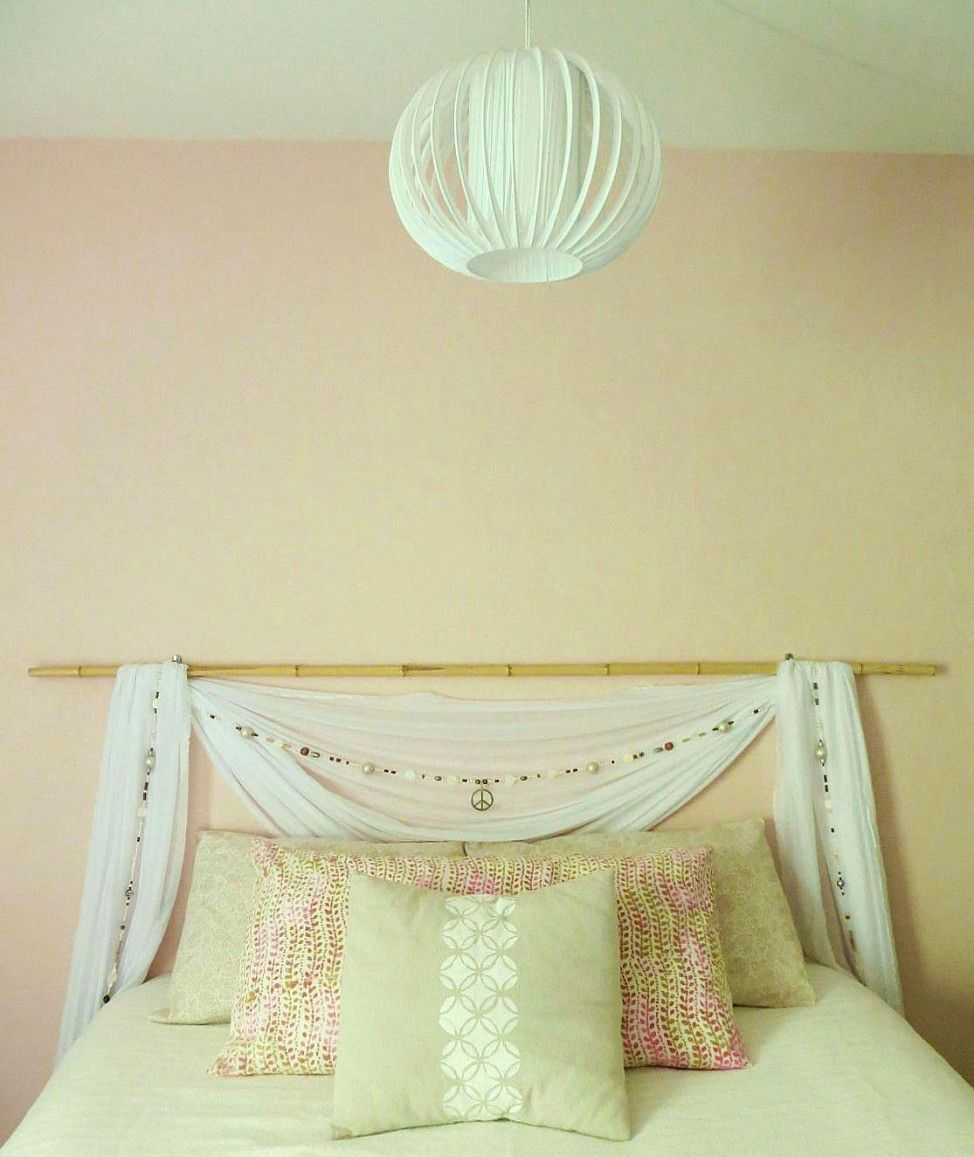 DIY-sheer-canopy-inspired-swag,-beaded-garland-and-bamboo-headboard ...