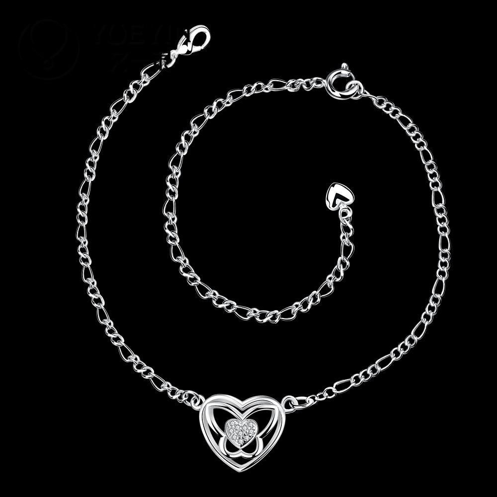 Silver Plated Heart Anklet