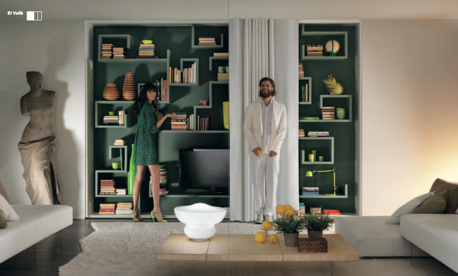 Bibliothèque AIR derrière dressing ET VOILA #lago #interiordesign #arlydesign #vert #green #mettezduvertdansladéco