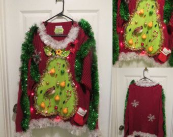 Mens 3x Ugly Christmas Sweater.Hilarious Partridge In A Pear Tree Tacky Ugly Christmas Sweater