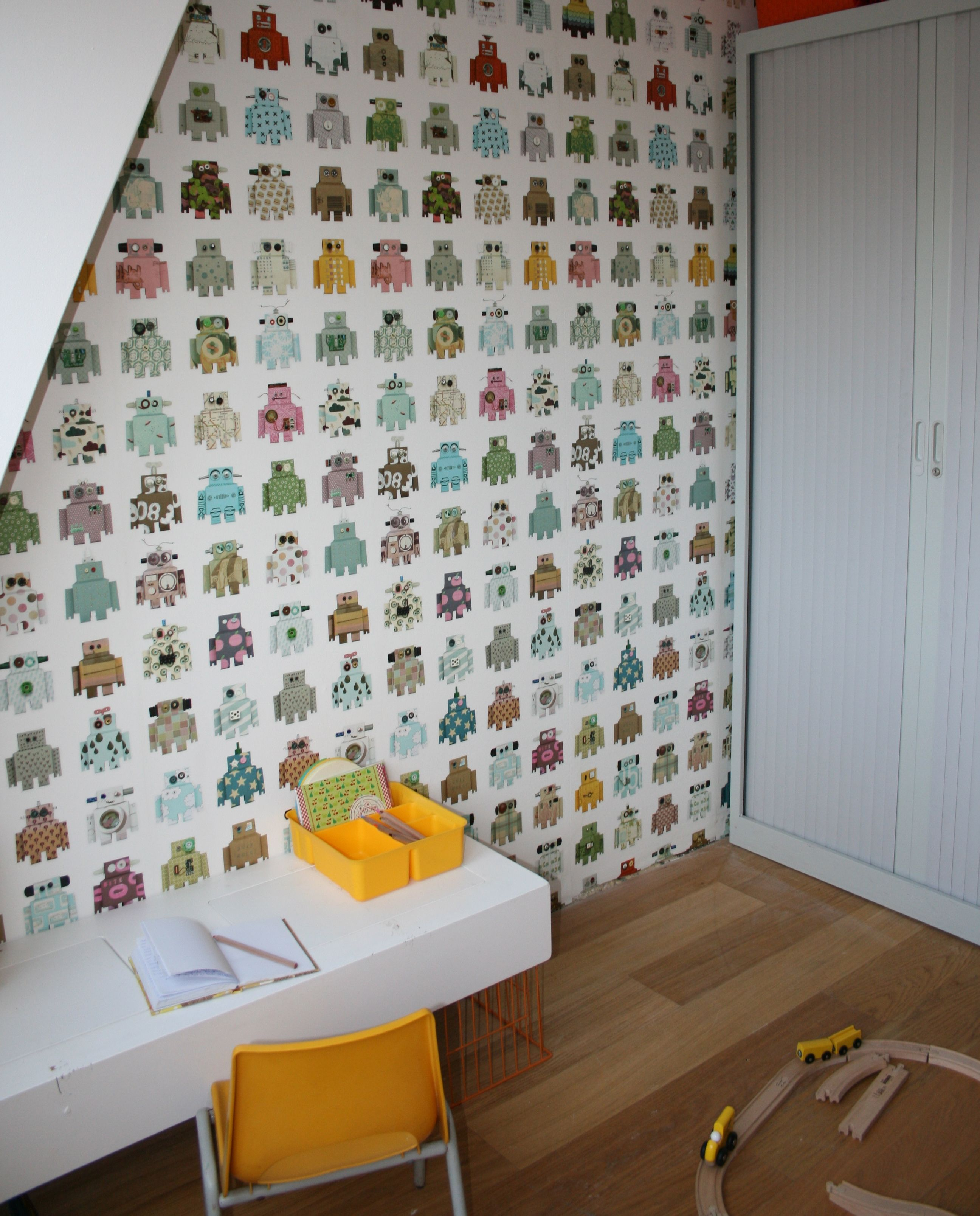 Stoere jongens robot kamer met behang van studio ditte for Behang kamer