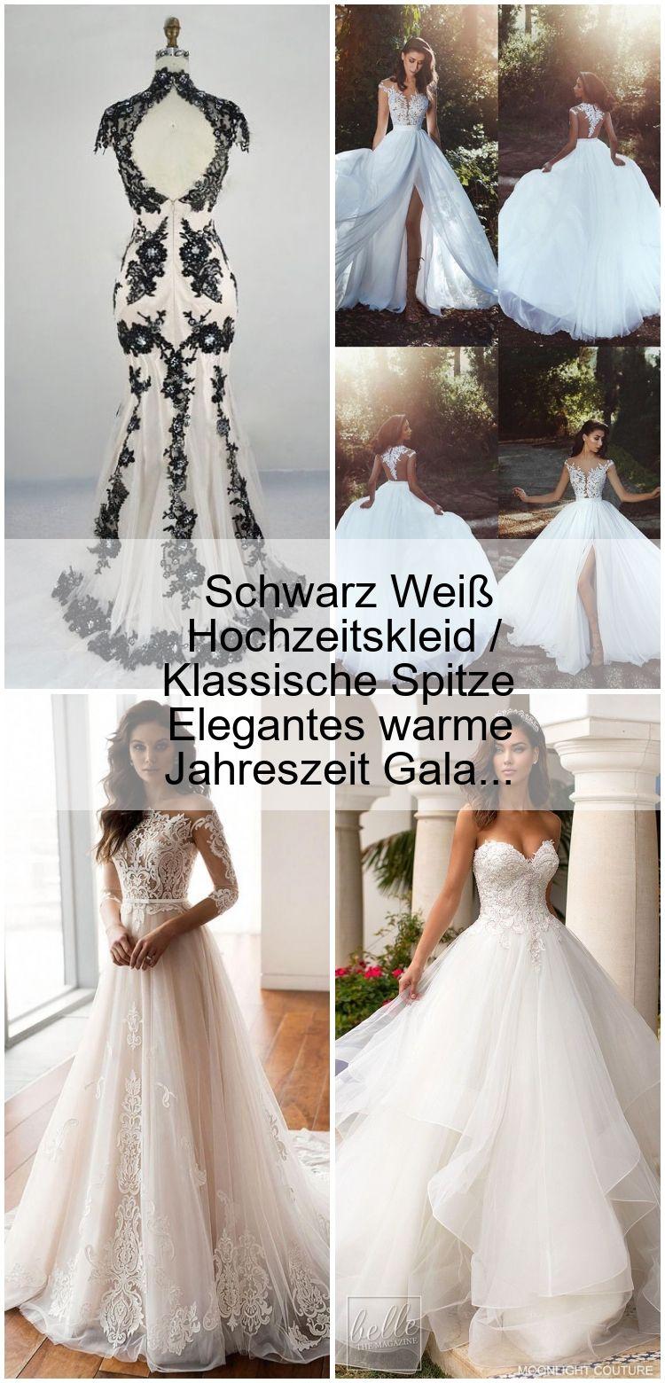 Schwarz Weiß Hochzeitskleid / Klassische Spitze Elegantes warme