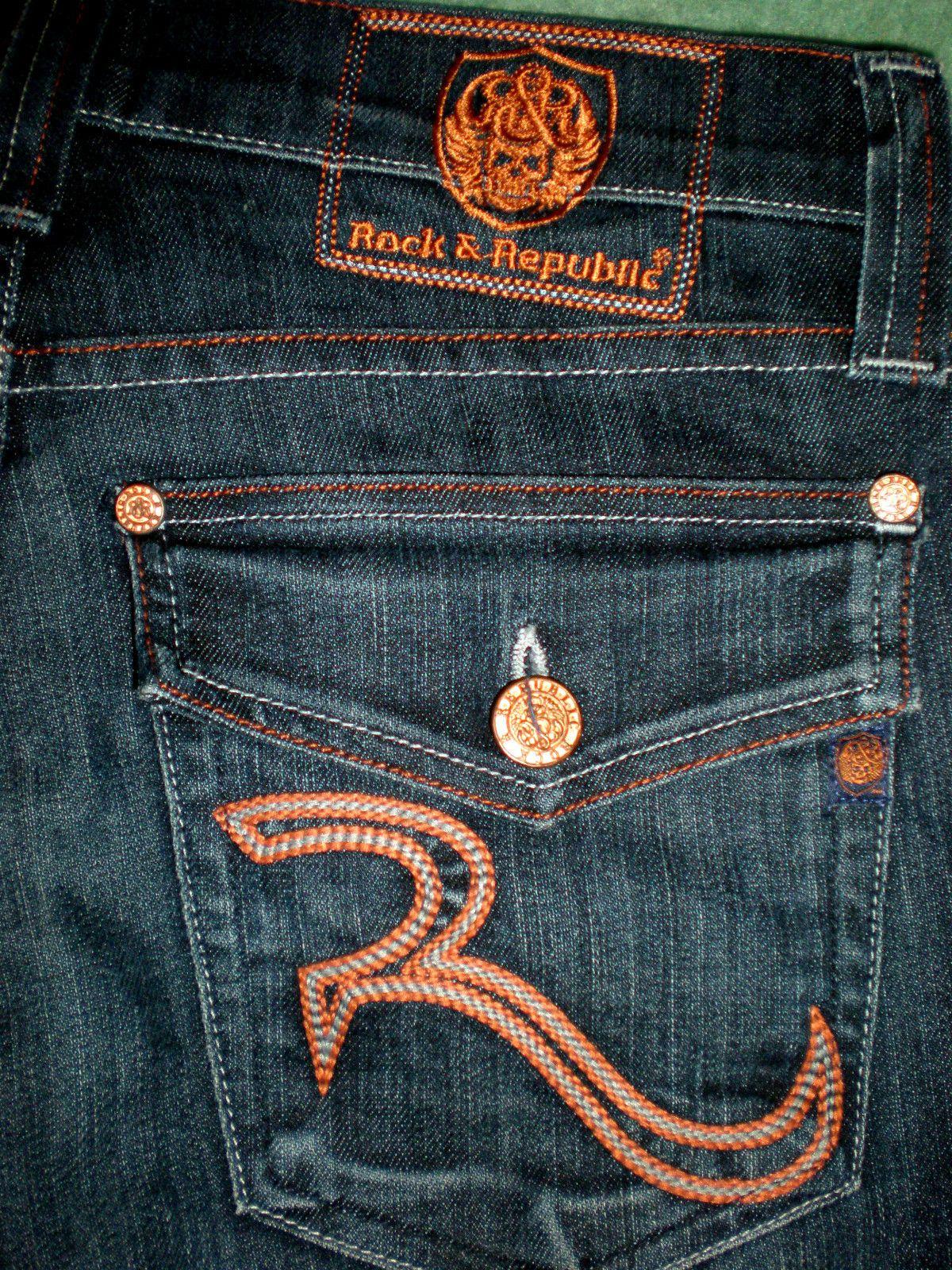 e3116bba4c1 Rock & Republic Jeans (Taylow Low Rise Button Fly Bootcut, Orange  Stitching, Men's Pre-owned Brand Name Jean Pants)