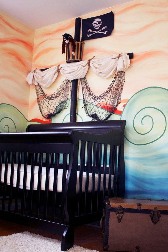 This is the mural and room i designed for my son hope he for Boys pirate bedroom ideas