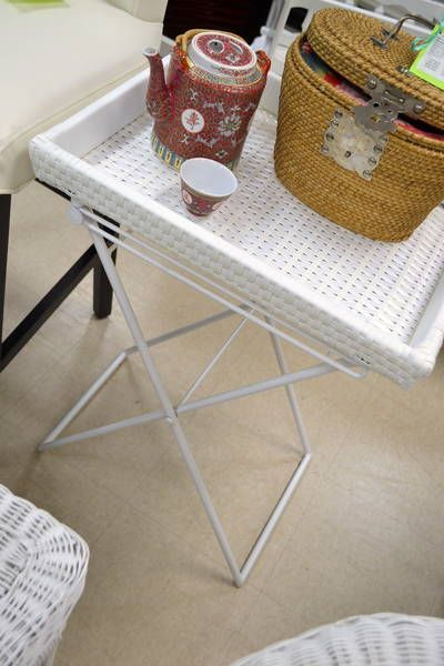 "Home Sense"" Collapsible Butler Tray Table on White Metal Frame"