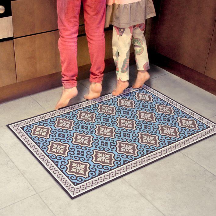 Vinyl Floor Rug With Blue Tiles Linoleum Mat With Classic Design