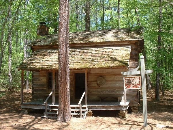 Outside Of Pioneer Log Cabin At Callaway Gardens. Constructed In The 1830s,  This Hand