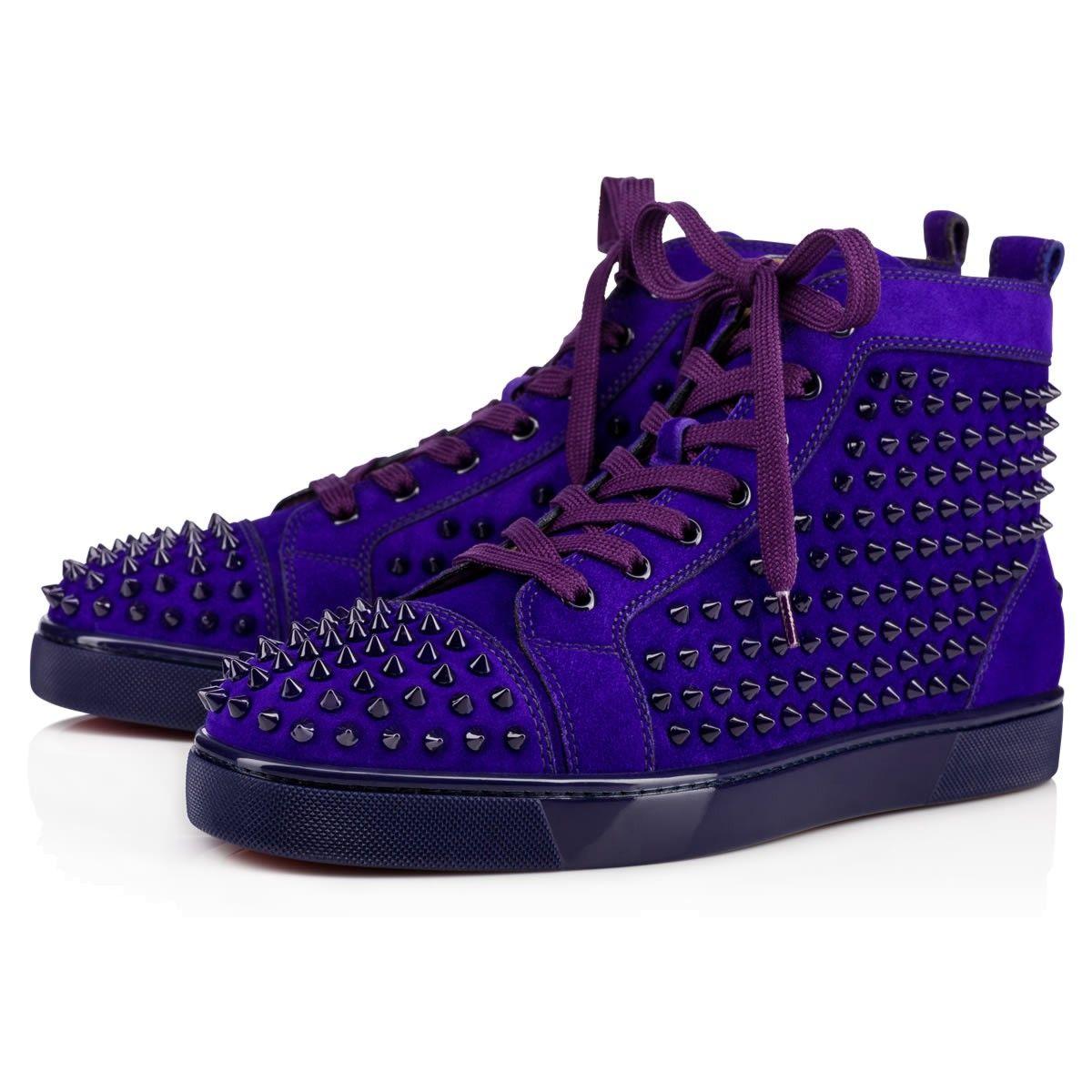 45e68f9c18a CHRISTIAN LOUBOUTIN Louis Veau Velours/Spikes Purple Pop Veau ...