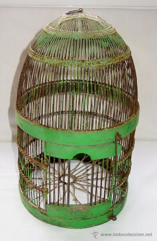 antigua jaula perdiz alambre de hierro madera y base de cuerda circa