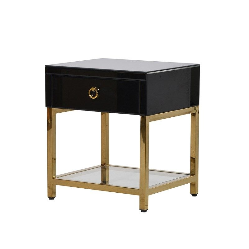 Best Black Brass Night Stand Black Bedside Table Black 400 x 300