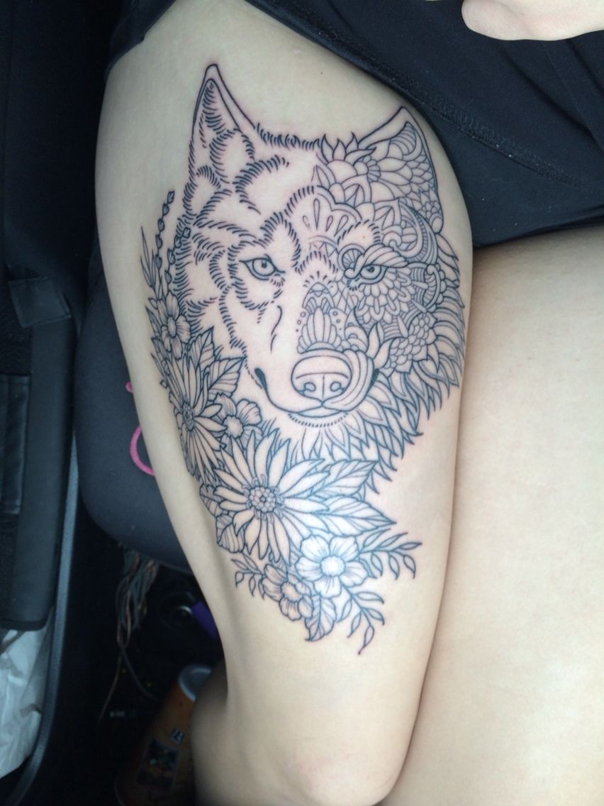 My wolf and flower combo every animal has a spirit and every spirit