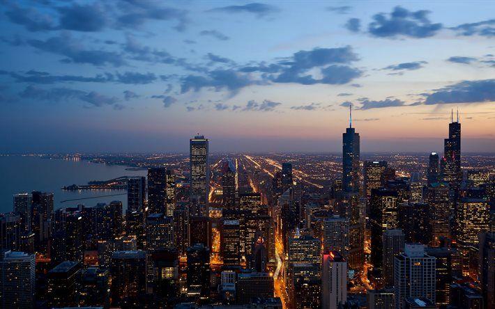 Chicago 4k evening city skyline America USA