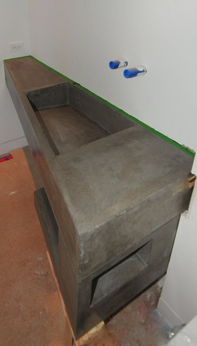 ultra modern concrete floating bathroom vanity made locally in kelowna bc vanity insanity check - Bathroom Cabinets Kelowna