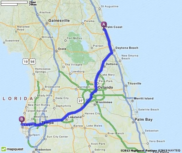 Driving Directions from Palm Coast Florida to Clearwater Florida