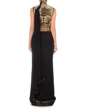 Black Sari Gown with Embellished Bodice