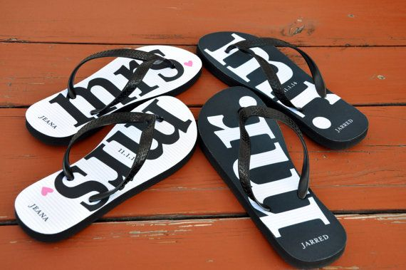 f189b0af3032 Mr.   Mrs. Newlywed Personalized Flip Flops by PaperSoPrettyGifts