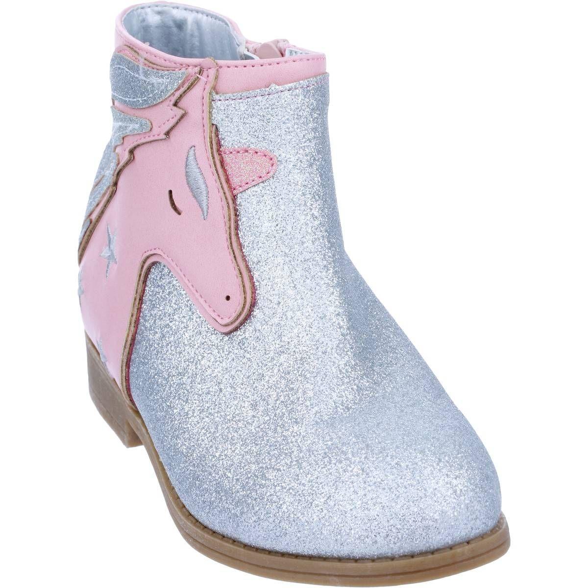 K-D Girls Unicorn Boots - Silver | BIG