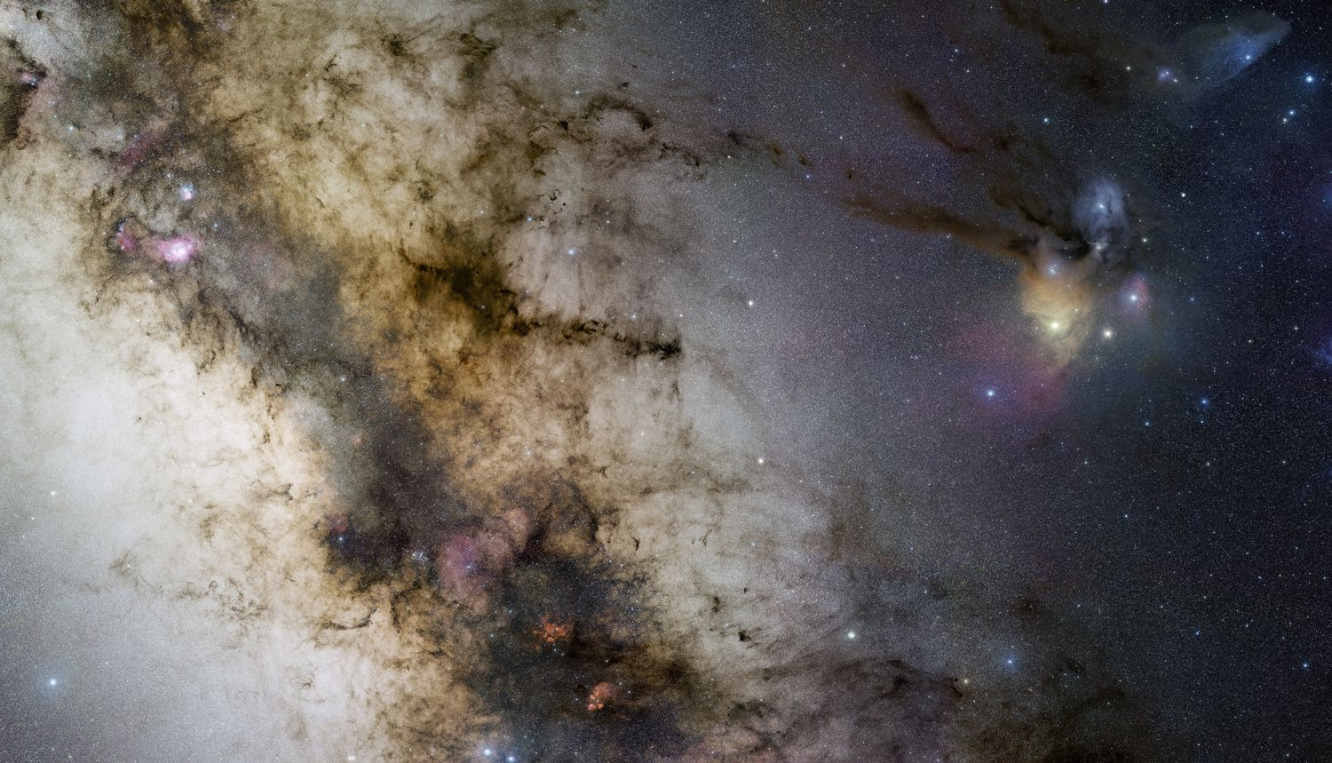 The central Milky Way region is captured in this expansive gigapixel mosaic of 1200 individual images and 200 hours of exposure time. The images were collected over 29 nights with a small telescope under the clear, dark skies of the ESO Paranal Observatory in Chile. Starting on the left, look for the Lagoon and Trifid nebulae, the Cat's Paw, the Pipe dark nebula, and the colorful clouds of Rho Ophiuchi and Antares (right).