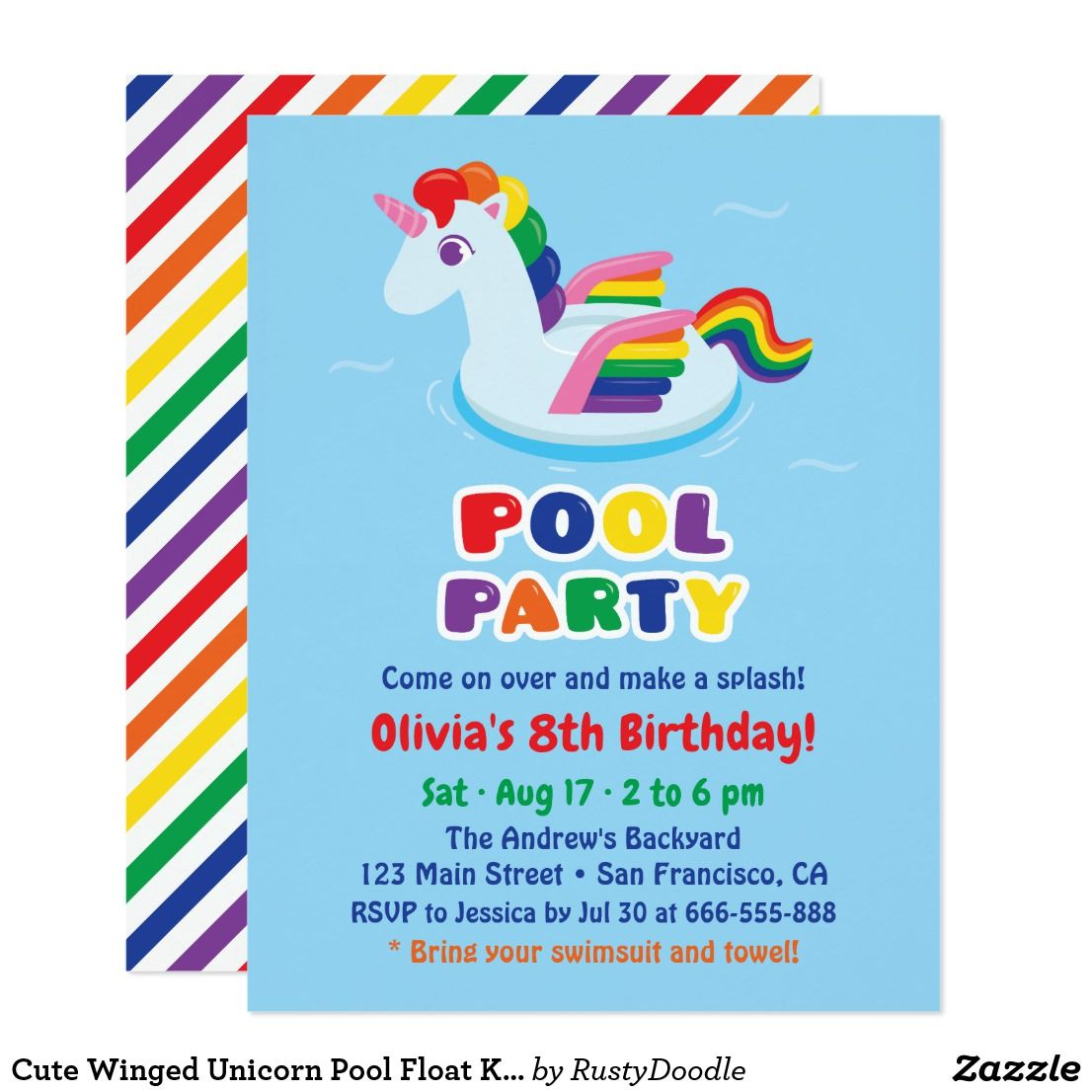 Party Pool Swimming Pool Color Dye: Cute Winged Unicorn Pool Float Kids Birthday Party