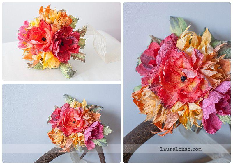 ramo de novia original, flores de papel, ramo de novia atrevido