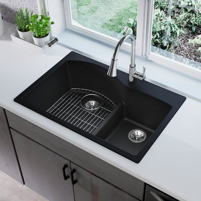 Elkay Quartz Classic 33 L X 22 W Double Basin Drop In Kitchen Sink With Aqua Divide Wayfair Drop In Kitchen Sink Kitchen Sink Remodel Black Kitchens