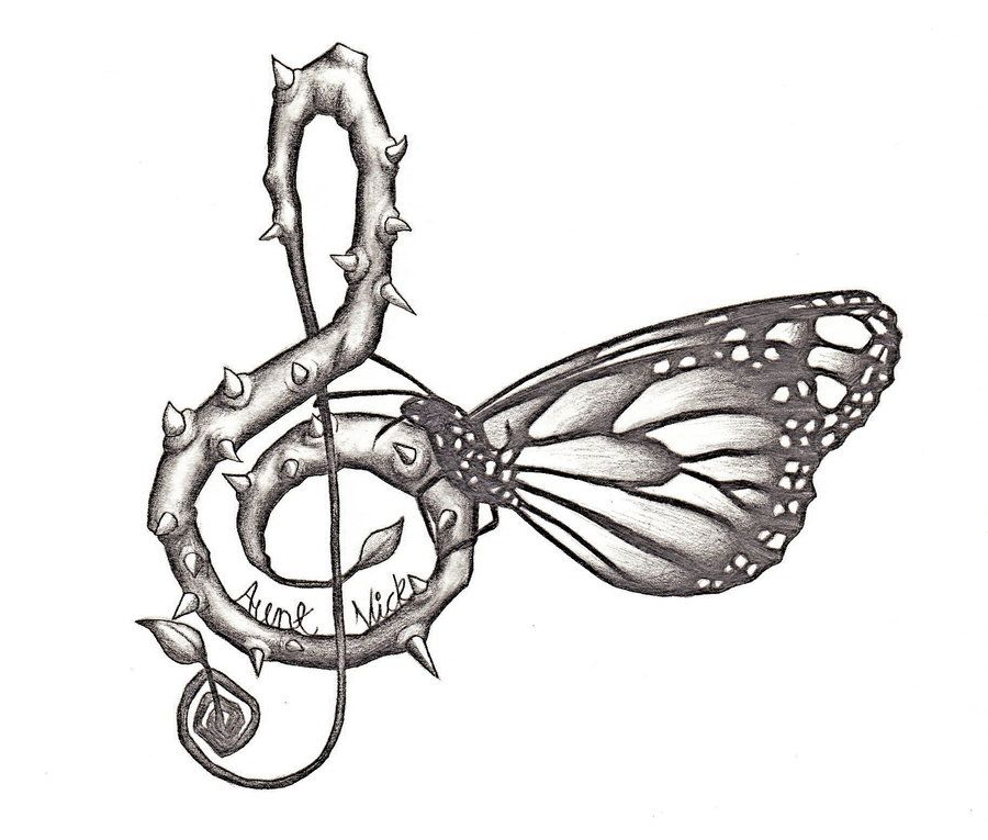 Line Art Music Notes : Drawings music notes butterfly tattoo with