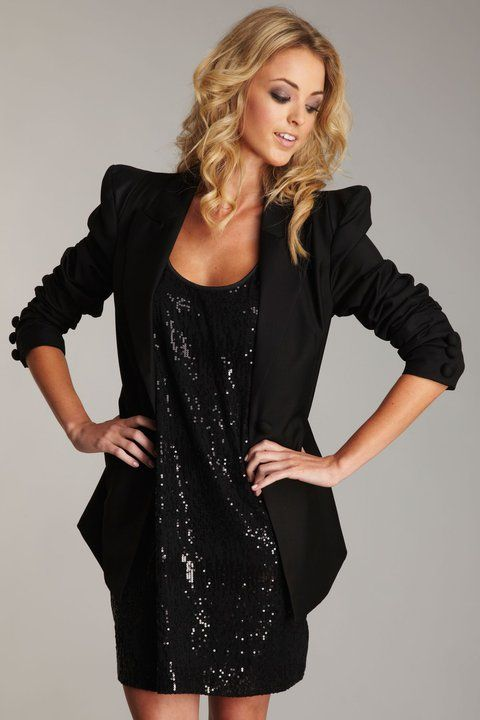 35d6da28a31 CRAZY love this look!!! (Melrose sequin dress with blazer over it ...