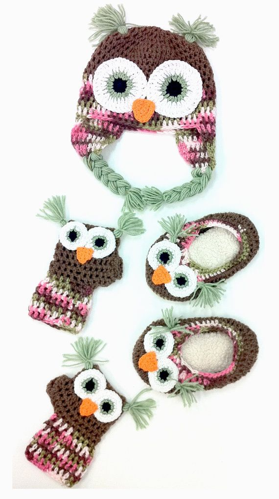 Owl Hat Combo with Gloves and Slippers | Baby crochet | Pinterest ...