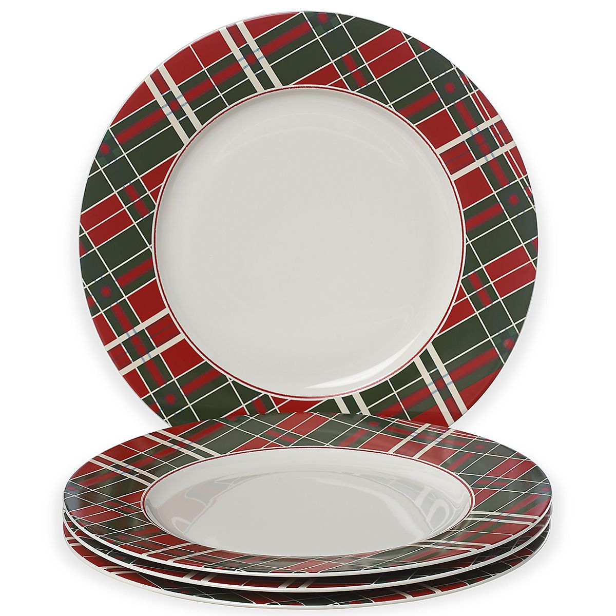 Bring a bit of old fashioned holiday cheer to your table with the fun Vintage Plaid Dinner Plate Set. Crafted in shimmering white porcelain each plate .  sc 1 st  Pinterest & Vintage Plaid™ 4-pc Dinner Plate Set | Lenox | Table Matters ...