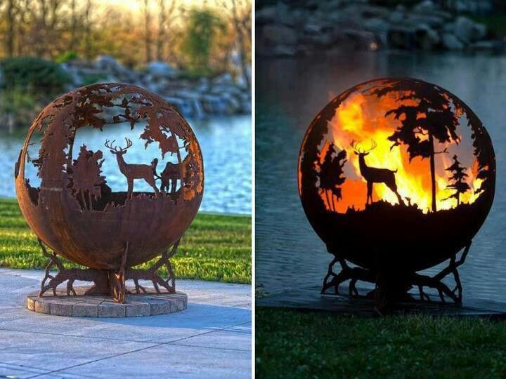 unusual sphere fire pit i love this one astuces. Black Bedroom Furniture Sets. Home Design Ideas