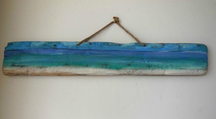 Peinture acrylique sur bois flotté. Ingrid Créations http://www.alittlemarket.com/peintures/fr_tableau_acrylique_vue_sur_mer_sur_bois_flotte_-13685273.html