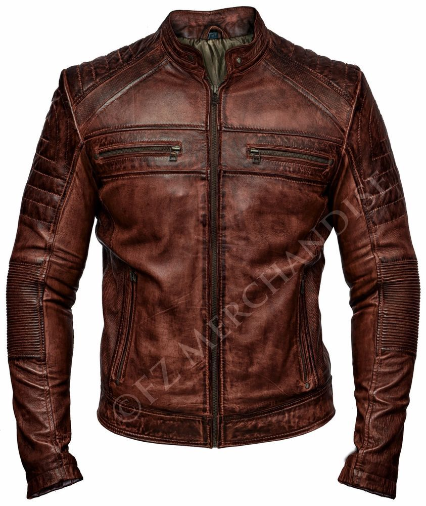 070ed3b31df3 Mens Biker Vintage Motorcycle Distressed Brown Cafe Racer Leather Jacket    Clothing, Shoes   Accessories, Men s Clothing, Coats   Jackets   eBay!