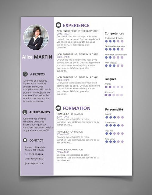 Cool Resume Templates Free Modele Cv 2017  Lettre De Motivation 2017  Cv  Pinterest