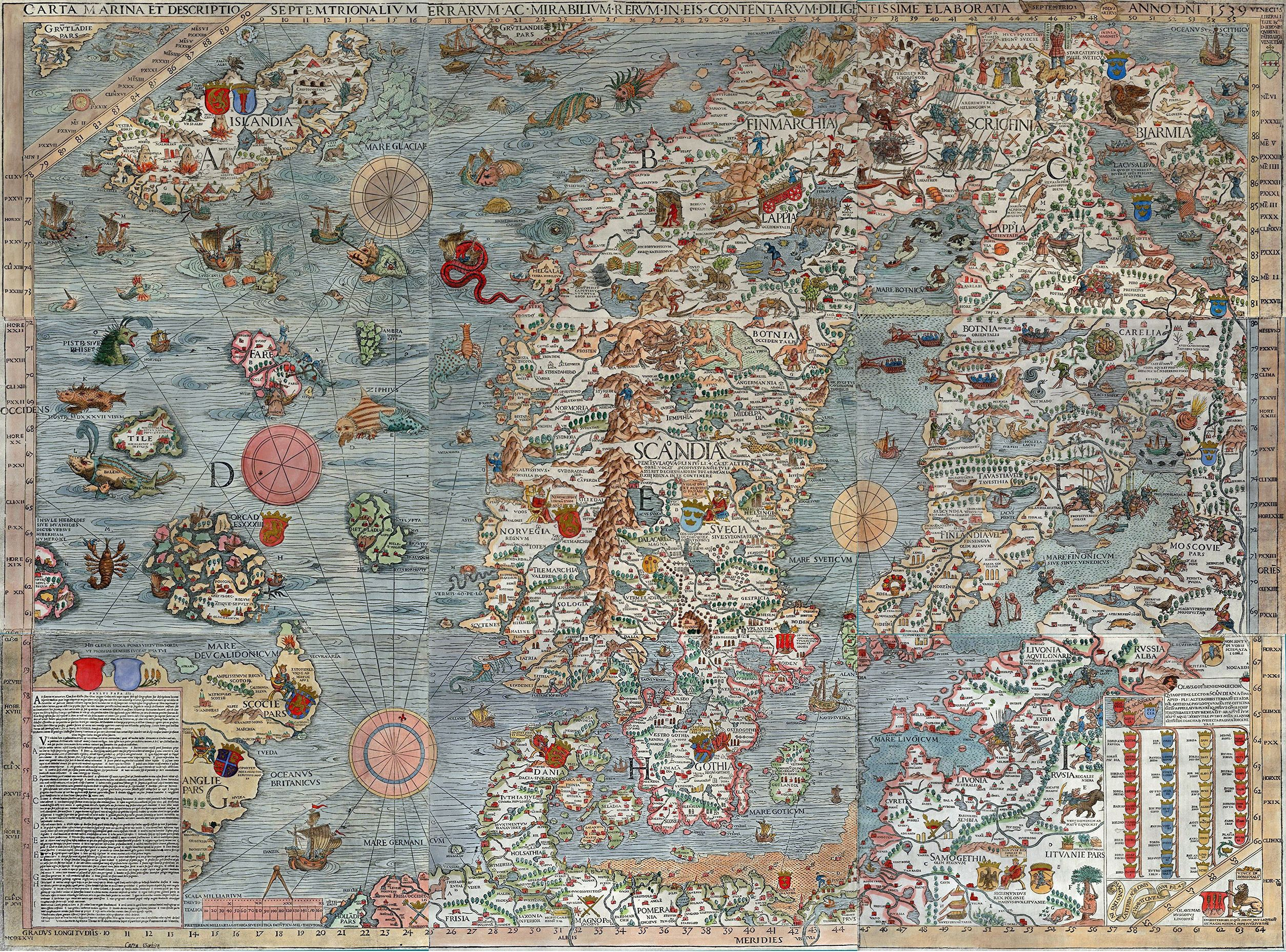 Carta Marina 1539 One Of The Earliest Accurate Depictions Of The Scandinavian Peninsula In 2020 Map Art Print Ancient Maps Map Art