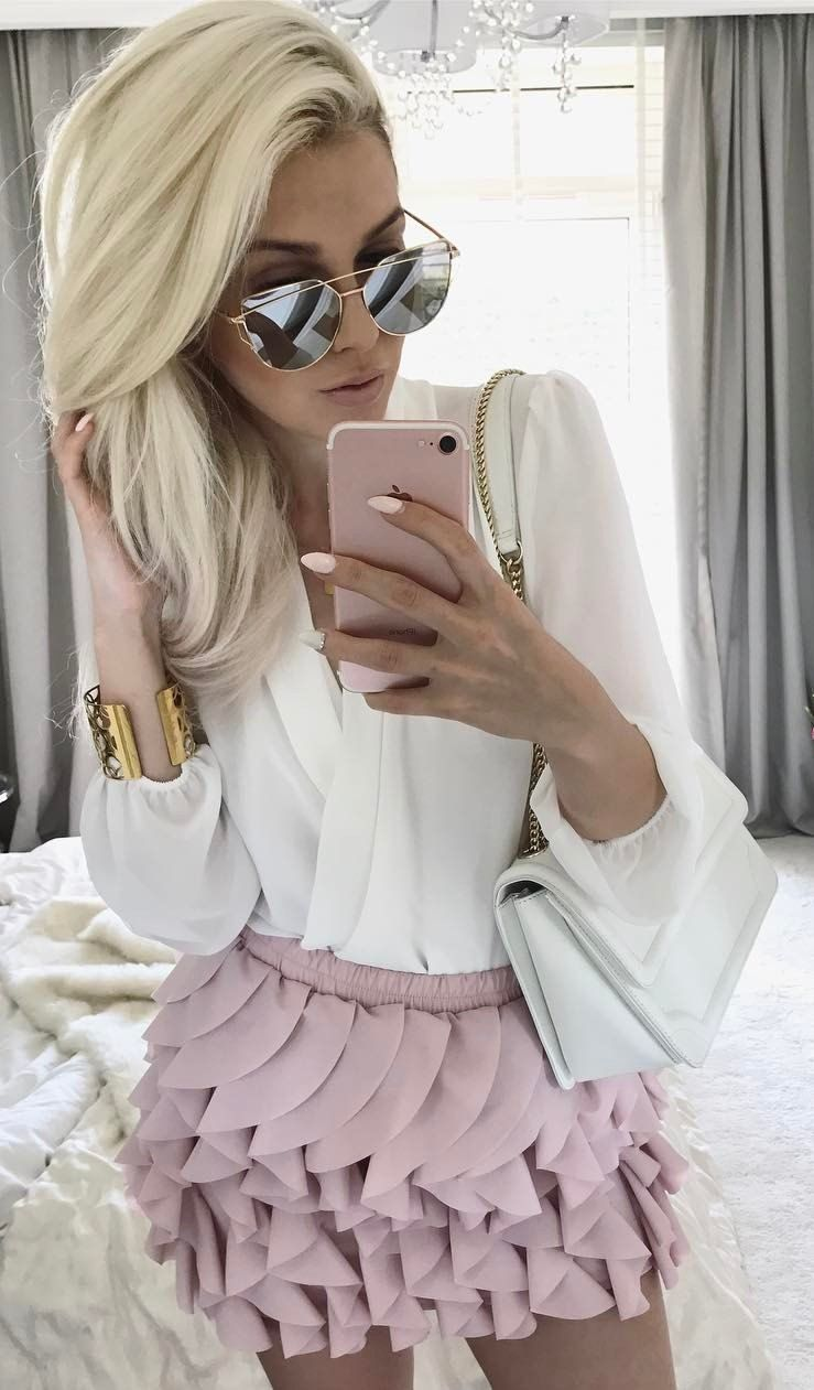 #spring #outfits White Blouse + Pink Ruffle Dress 🎀