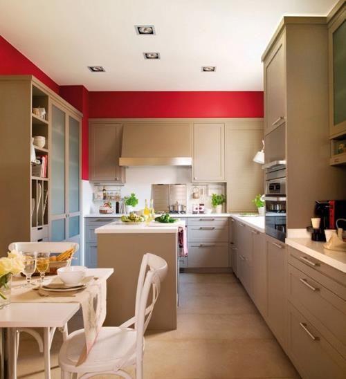 Decoração de Cozinha    Cozinha Grande    Cor Bege com Vermelho