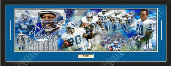 One Detroit Lions player/team photoramic with a customizable nameplate*, double matted in team colors to 39 x 13.5 inches.  The lines show the bottom mat color.  $149.99 @ ArtandMore.com