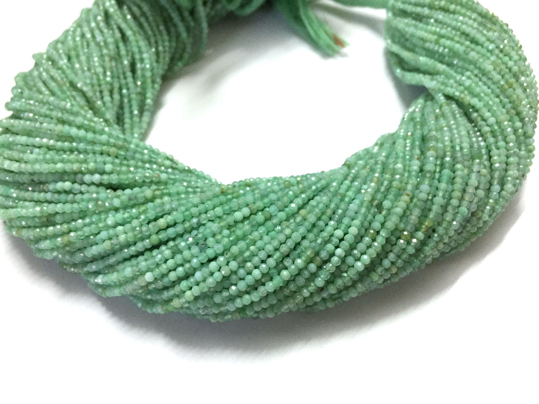 AAA MicroFaceted Green Onyx Rondelle Gemstone Beads